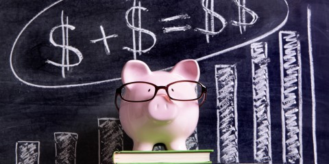 Piggy Bank with savings formula