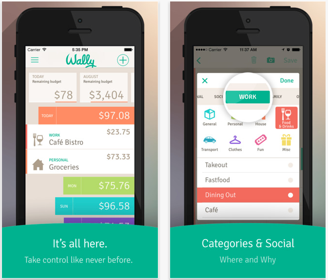Screenshot of Wally, a little budgeting tool that can be downloaded as mobile phone app