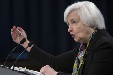 Janet Yellen, chair of the U.S. Federal Reserve, speaks during a news conference following a Federal Open Market Committee (FOMC) meeting in Washington, D.C., U.S., on Wednesday, March 16, 2016. Federal Reserve officials held off from raising borrowing costs and scaled back forecasts for how high interest rates will rise this year, citing the potential impact from weaker global growth and financial-market turmoil on the U.S. economy. Photographer: Drew Angerer/Bloomberg *** Local Caption *** Janet Yellen