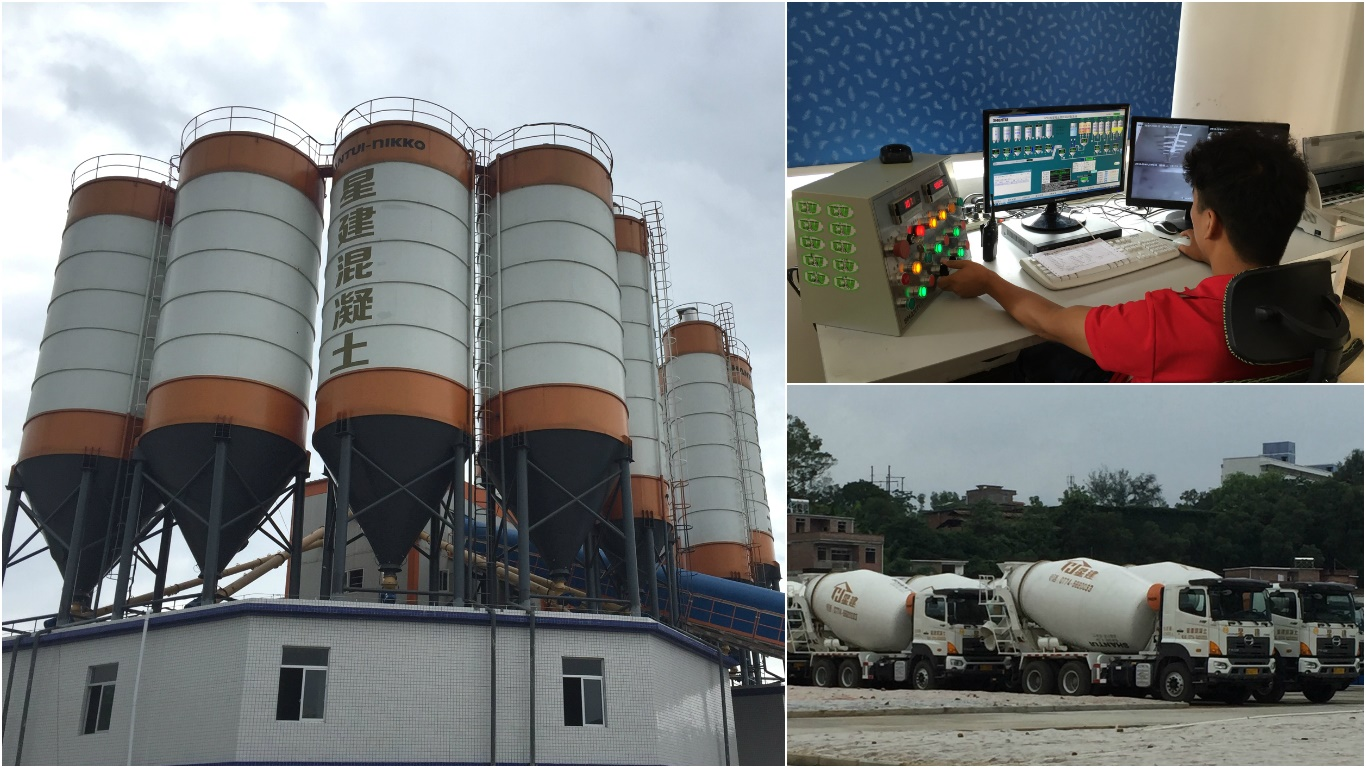 Left: Xing Jian's new premix cement plant in Wuzhou, Top Right: Trained worker handling automated production process, Bottom Right: Xing Jian's fleet of cement mixer truck.