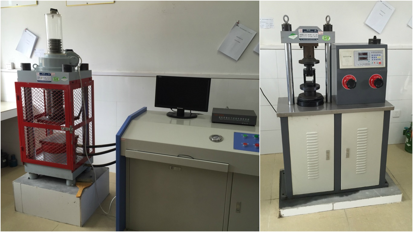 Various equipment used for on-site quality testing.