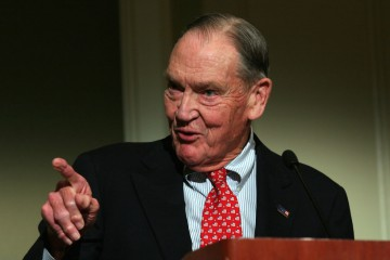 "John ""Jack"" Bogle Sr., founder of Vanguard Group,, speaks at the Council of Institutional Investors spring luncheon in Washington D.C. April 11, 2005.  Photographer: Ken Cedeno/Bloomberg News."