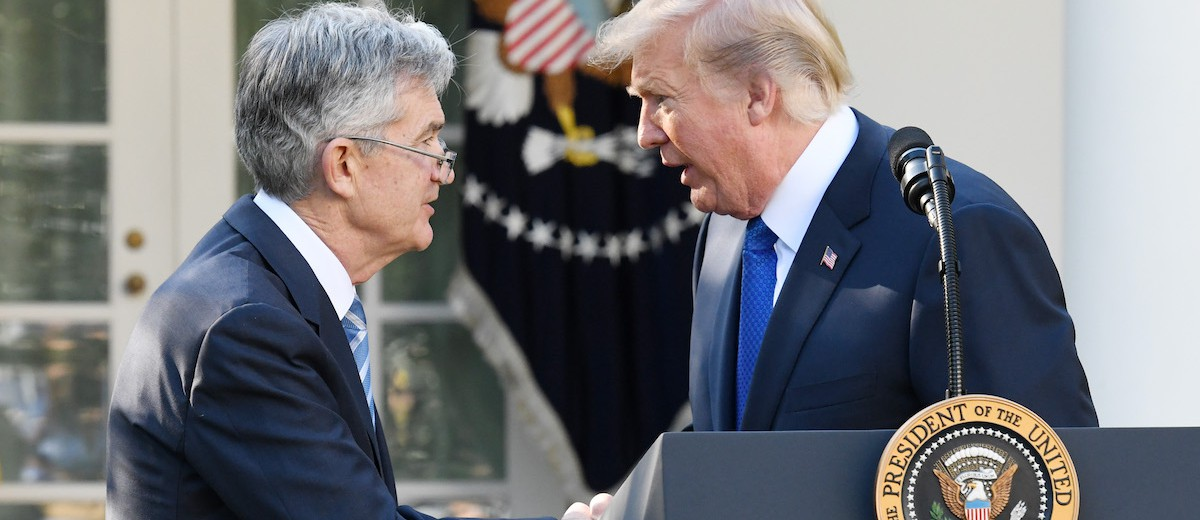 U.S. President Donald Trump, right, shakes hands with Jerome Powell, governor of the U.S. Federal Reserve and Trump's nominee as chairman of the Federal Reserve, during a nomination announcement in the Rose Garden of the White House in Washington, D.C., U.S., on Thursday, Nov. 2, 2017. If approved by the Senate, the 64-year-old former Carlyle Group LP managing director and ex-Treasury undersecretary would succeed Fed Chair Janet Yellen. Photographer: Olivier Douliery/Bloomberg