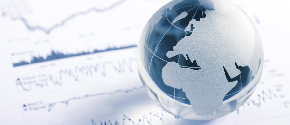 Glass globe with stock chart
