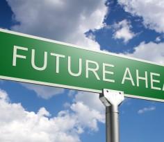 photorealistic 3d sky-high future ahead street sign